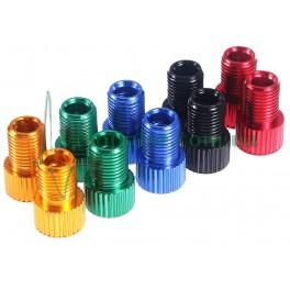 Переходник ниппеля Presta/Schrader алюминий разные цвета